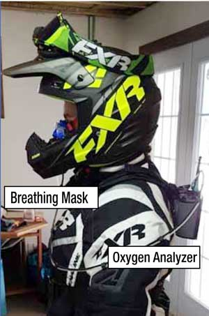 Oxygen use monitored during snowmobiling study.